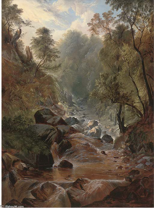 Stockghyll Force, Ambleside by John Berney Ladbrooke (1803-1879, United Kingdom)