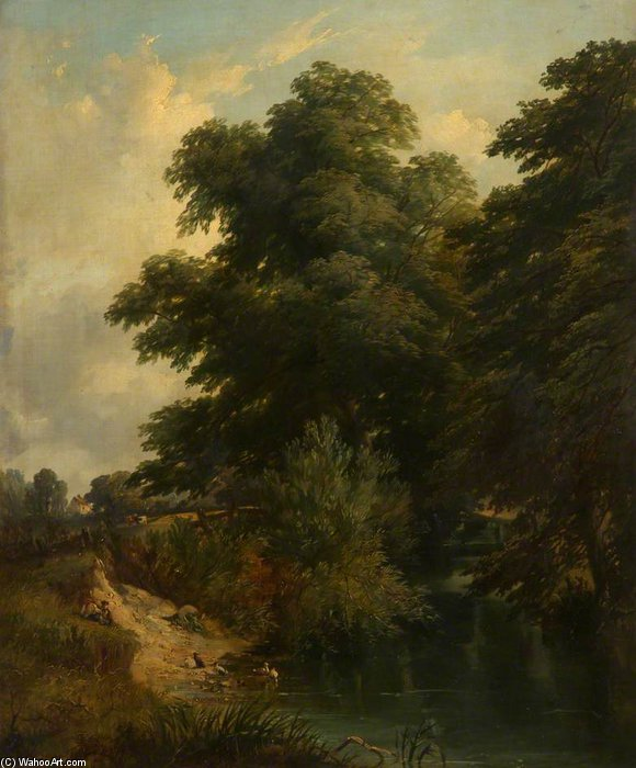 Summer Landscape by John Berney Ladbrooke (1803-1879, United Kingdom) | Famous Paintings Reproductions | WahooArt.com