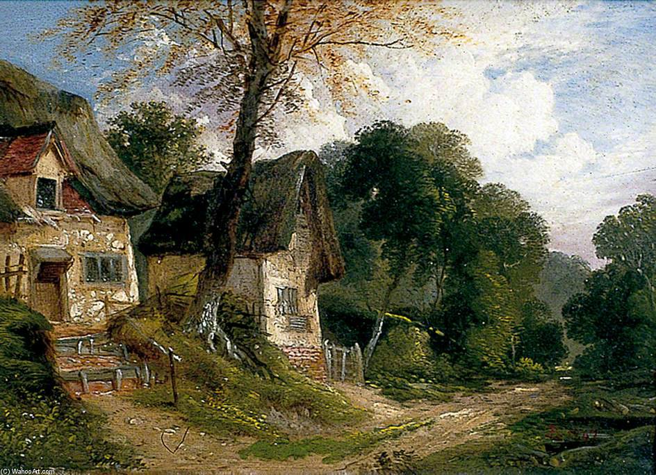 Thatched Cottages By A Woodland Track by John Berney Ladbrooke (1803-1879, United Kingdom) | Museum Quality Reproductions | WahooArt.com
