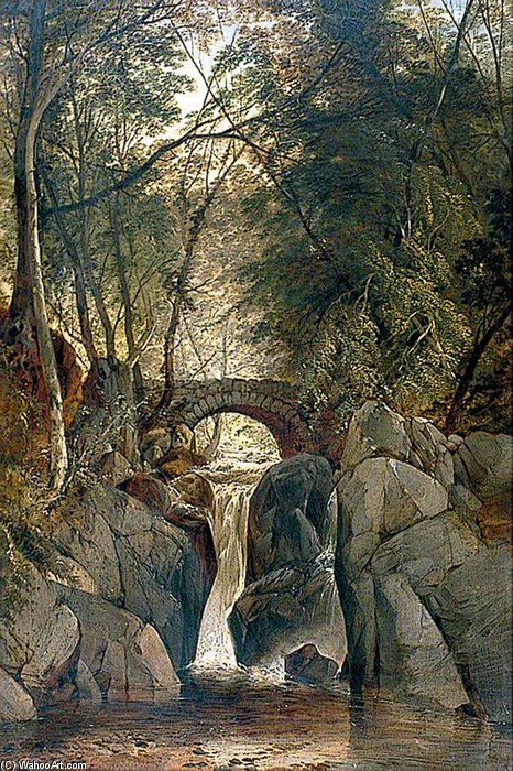 The Waterfall by John Berney Ladbrooke (1803-1879, United Kingdom)
