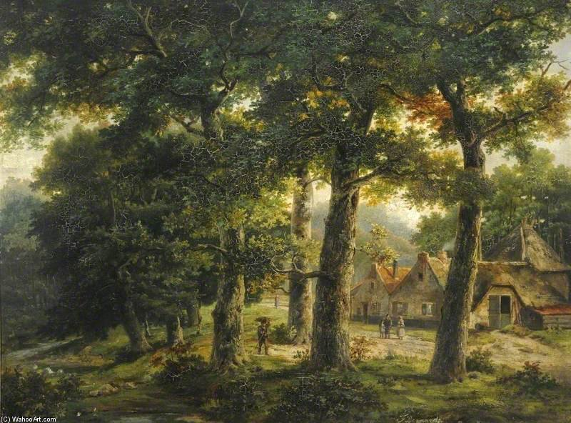 Wooded Landscape With A Farm by John Berney Ladbrooke (1803-1879, United Kingdom)