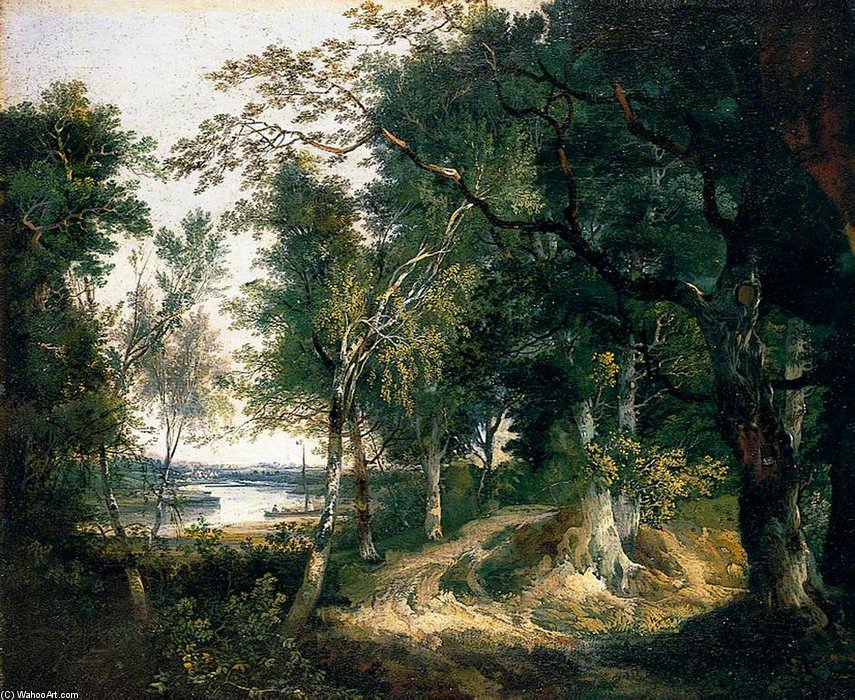 Order Museum Quality Reproductions : Woodland Landscape by John Berney Ladbrooke (1803-1879, United Kingdom) | WahooArt.com