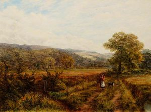 John Frederick Tayler - Picturesque Landscape With A Woman And Dog