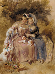 John Frederick Tayler - Two Young Ladies Seated In A Wooded Landscape With Two King Charles Spaniels