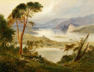 Joseph Murray Ince - Landscape With Lake; Oberwesel With Schonburg Castle, On The Rhine