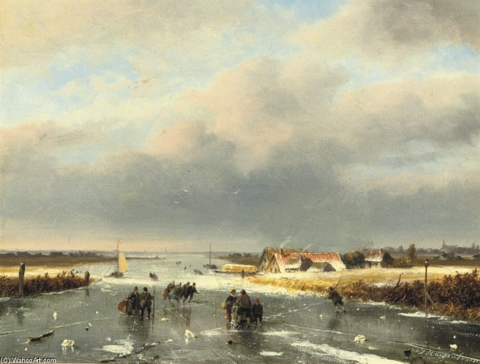 A Day On The Ice by Nicolaas Johannes Roosenboom (1805-1880, Netherlands)