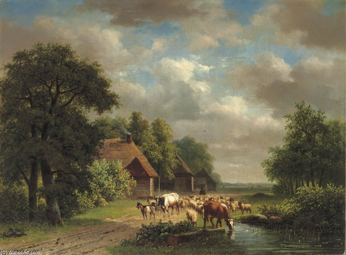 Cattle On A Path by Nicolaas Johannes Roosenboom (1805-1880, Netherlands)