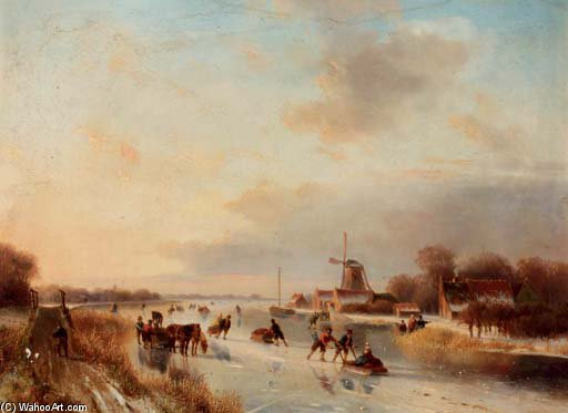 Numerous Skaters On A Frozen Waterway by Nicolaas Johannes Roosenboom (1805-1880, Netherlands)