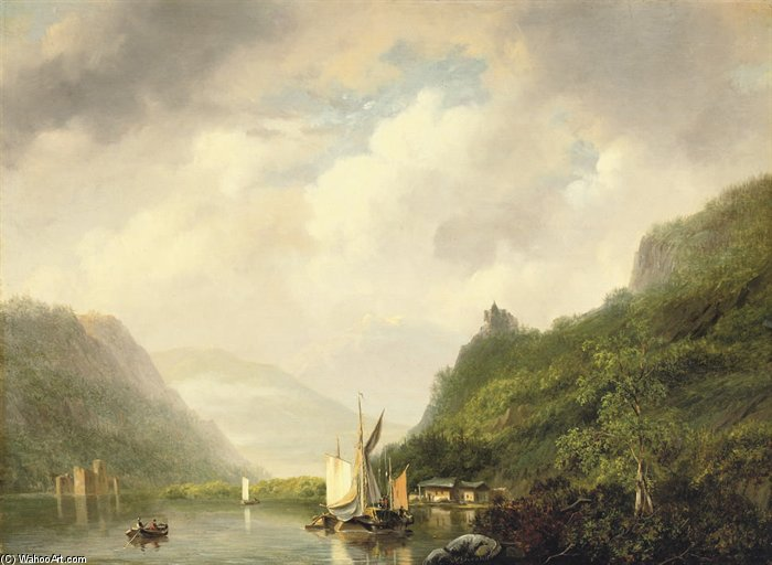 On A Mountain Lake by Nicolaas Johannes Roosenboom (1805-1880, Netherlands)