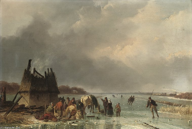 Skaters By A Burnt Out Hut by Nicolaas Johannes Roosenboom (1805-1880, Netherlands)