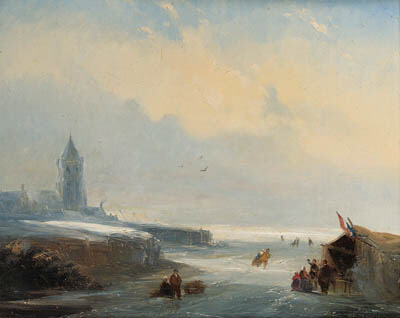 Skaters Reposing At A Koek En Zopie Stand On A Frozen Waterway Near A City by Nicolaas Johannes Roosenboom (1805-1880, Netherlands)