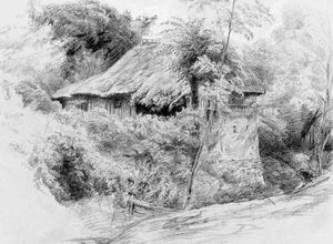 Paul Huet - A Thatched Cottage In Picardy