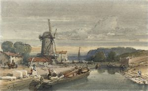 William Leighton Leitch - Figures Loading A Barge Before A Windmill (illustrated); And A Border Castle