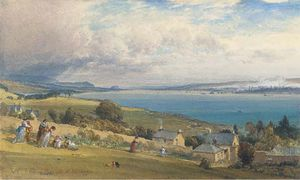 William Leighton Leitch - Greenock From Kilcreggan With Dumbarton Rock In The Distance