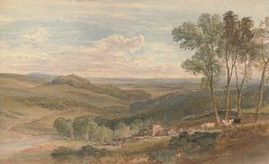 William Leighton Leitch - View Over A Farmstead, A Rolling Valley Beyond