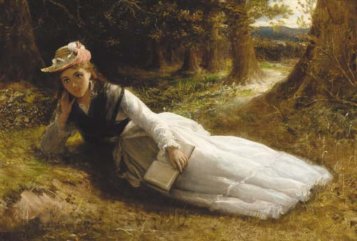 Reading In The Woods by William Oliver (1805-1853, United Kingdom) | WahooArt.com
