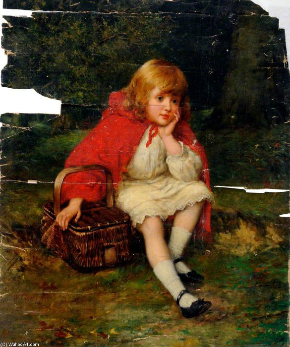 Red Riding Hood by William Oliver (1805-1853, United Kingdom) | Painting Copy | WahooArt.com