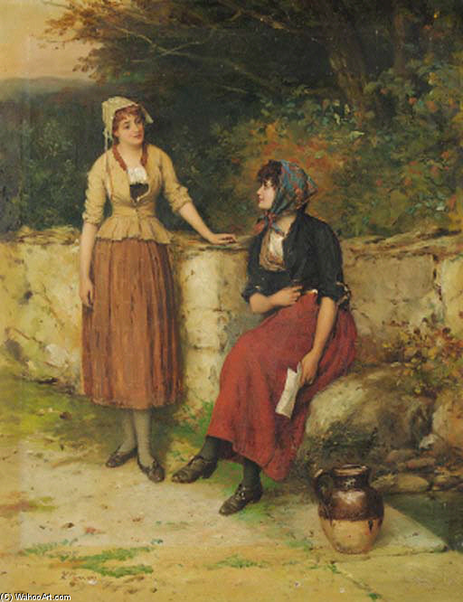 Order Oil Painting : Sisterly Advice by William Oliver (1805-1853, United Kingdom) | WahooArt.com