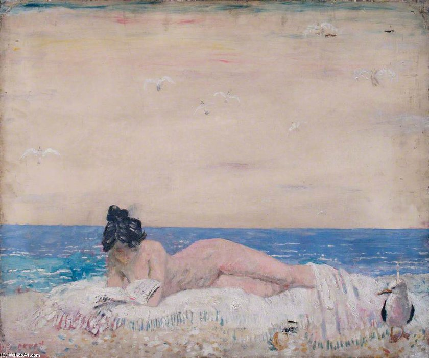 Nude Female Model (reading On The Seashore) by William Newenham Montague Orpen (1878-1931, Ireland)