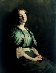 William Newenham Montague Orpen - Portrait Of A Girl Wearing A Green Dress