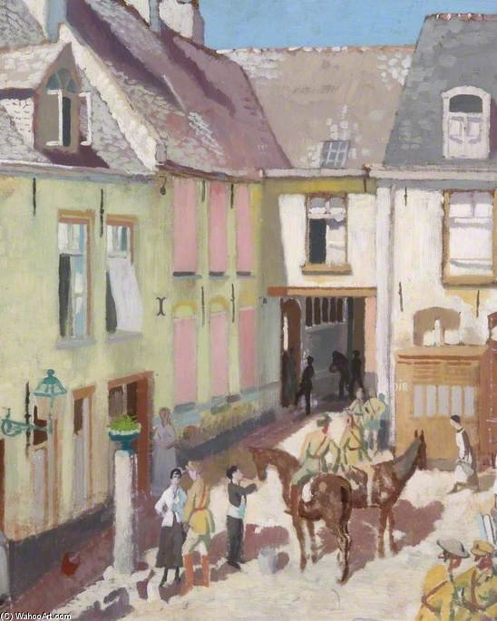 The Courtyard, Hotel Sauvage, Cassel, Nord by William Newenham Montague Orpen (1878-1931, Ireland)