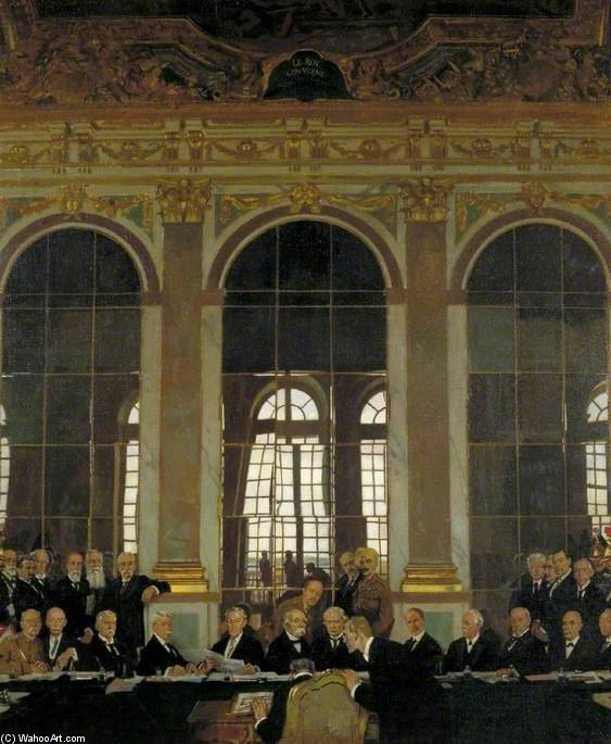 The Signing Of Peace In The Hall Of Mirrors, Versailles by William Newenham Montague Orpen (1878-1931, Ireland)
