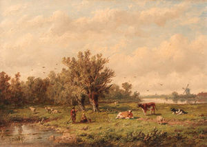 Anthonie Jacobus Van Wijngaerdt - A Landscape With A Peasant Couple And Cattle