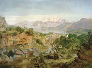 August Albert Zimmermann - Figures In An Extensive Valley Landscape