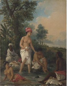 Agostino Brunias - Free Women Of Dominica Bathing In A Stream