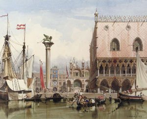 Carl (Friedrich Heinrich) Werner - Sailingvessels Moored By The Doge's Palace, Venice