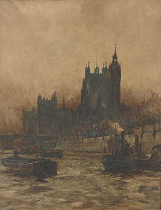 Charles Edward Dixon - Tugs And Barges On The Thames Before The Palace Of Westminster