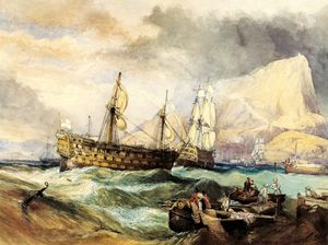 George Clarkson Stanfield - The Victory Towed Into Gibraltar After Trafalgar