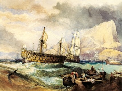 The Victory Towed Into Gibraltar After Trafalgar by George Clarkson Stanfield (1793-1867, United Kingdom) | Painting Copy | WahooArt.com
