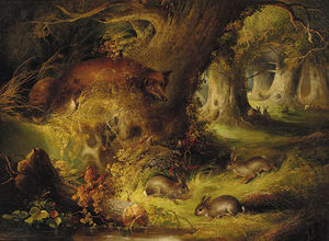 George Armfield (Smith) - A Fox With Rabbits In A Wood