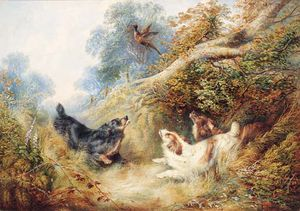 George Armfield (Smith) - Spaniels Flushing Out A Pheasant -
