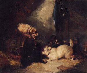 George Armfield (Smith) - Terriers Ratting In A Barn -