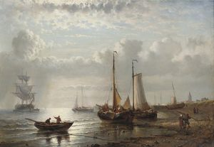 George Willem Opdenhoff - Fishing Vessels Moored By A Coast