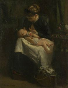 Jacob Henricus Maris - A Young Woman Nursing A Baby