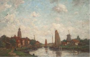 Jacob Henricus Maris - Barges On A River At A Dutch Settlement
