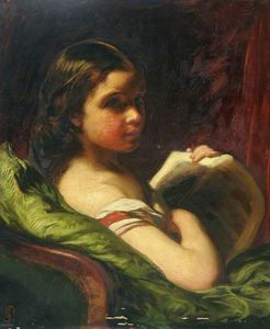 James Sant - Portrait Of A Young Girl Holding A Book
