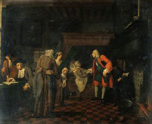 Jan Josef Horemans The Elder - Nterior With A Medical Practitioner Attending To A Sick Man In The Presence Of Other Figures