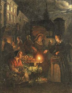 Johannes Rosierse - The Market Stall By Lamplight