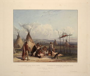 Karl Bodmer - Funeral Scaffold Of A Sioux Chief