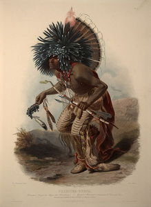 Karl Bodmer - Moenitarri Warrior In The Costume Of The Dog Danse