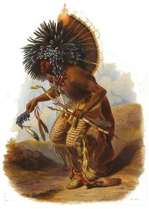 Karl Bodmer - Moennitarri Warrior In The Costume Of The Dog Danse
