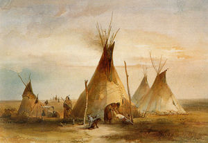 Karl Bodmer - Sioux Teepee