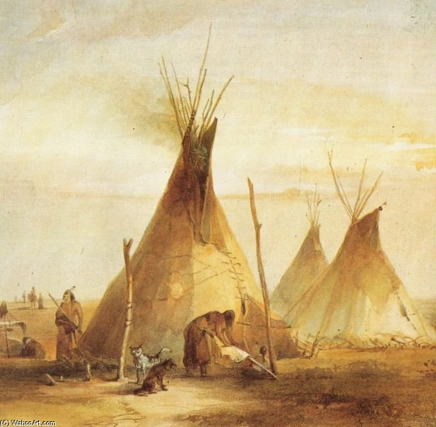 Sioux Tipis by Karl Bodmer (1809-1893, Switzerland) | Museum Quality Reproductions | WahooArt.com