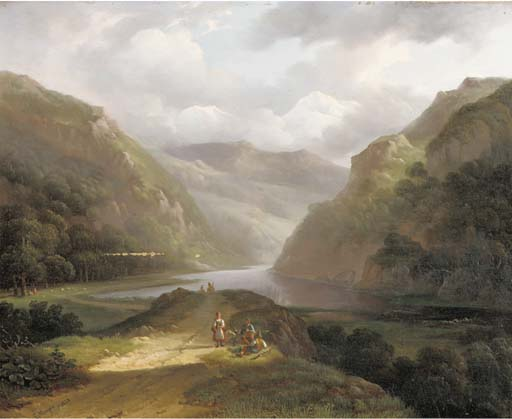 A Mountain Landscape With Countrymen Taking A Break by Louis Meijer (1809-1866, Netherlands) | Museum Quality Reproductions | WahooArt.com