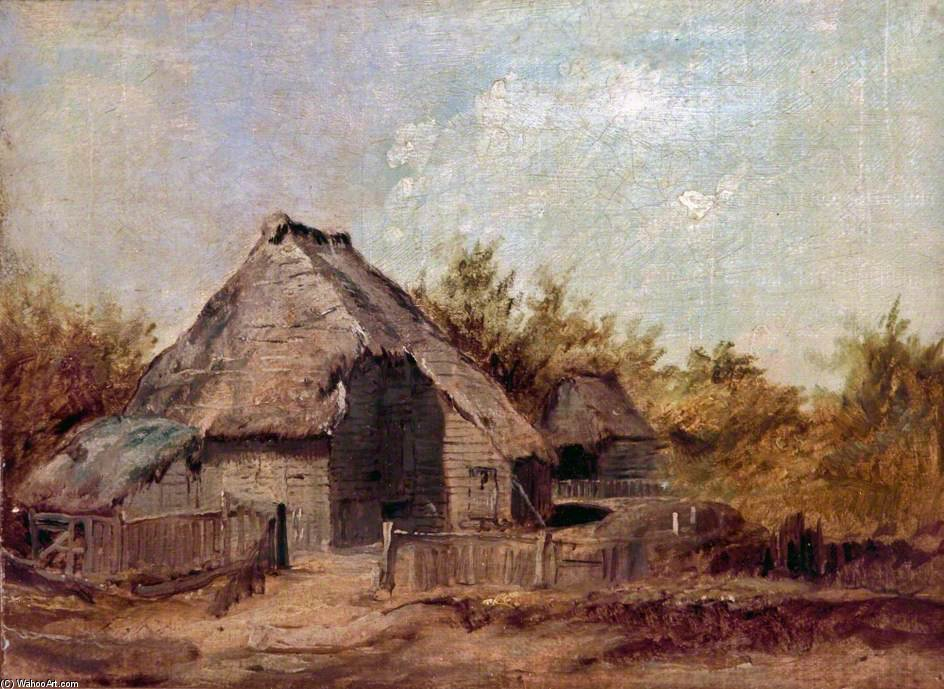 Farm Buildings by Patrick Nasmyth (1787-1831, United Kingdom) | Museum Art Reproductions Patrick Nasmyth | WahooArt.com