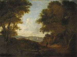 Patrick Nasmyth - Figures In A Wooded Landscape By A Lake